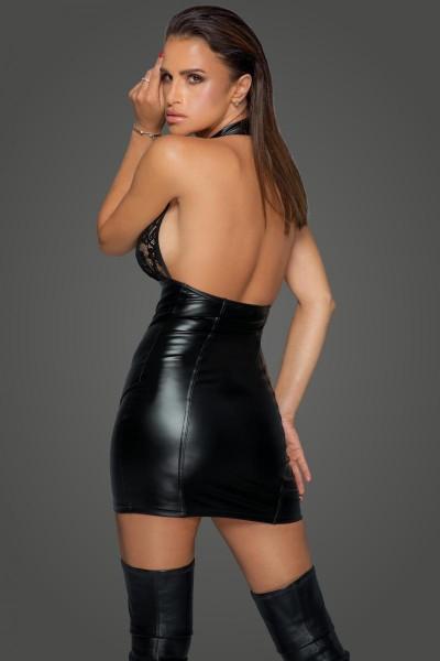 schwarzes Damen Wetlook Kleid mit Spitzen-Neckholder