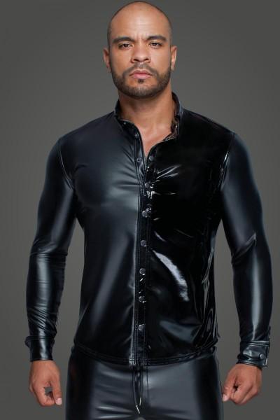 Herrenhemd mit Druckknöpfen in PVC-Optik
