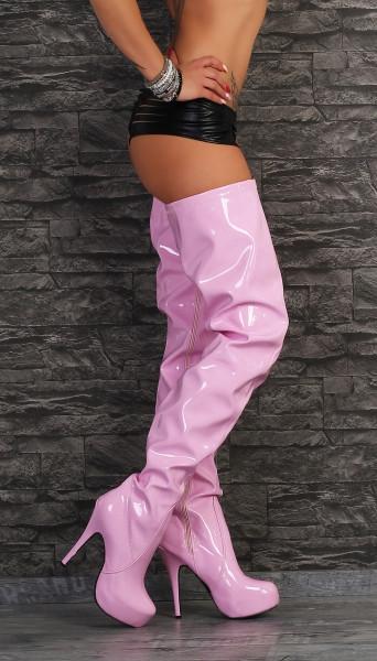 release date a555b 37a4e Crotch Plateau Overknee High Heels pink