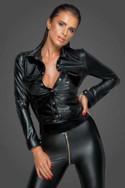 schwarzes Damen Wetlookoptik Hemd mit Druckknöpfen und PVC-Details