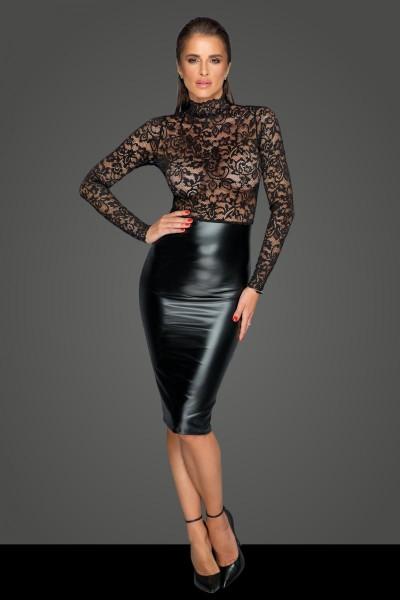 schwarzes Damen PVC Kleid mit Spitzenoberteil