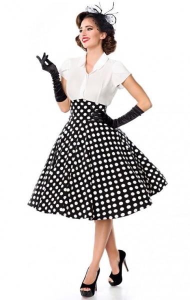 Tellerrock mit Knöpfen schwarz/weiß