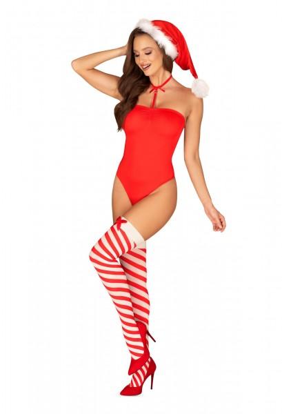 Weihnachtlicher Body rot - vorne