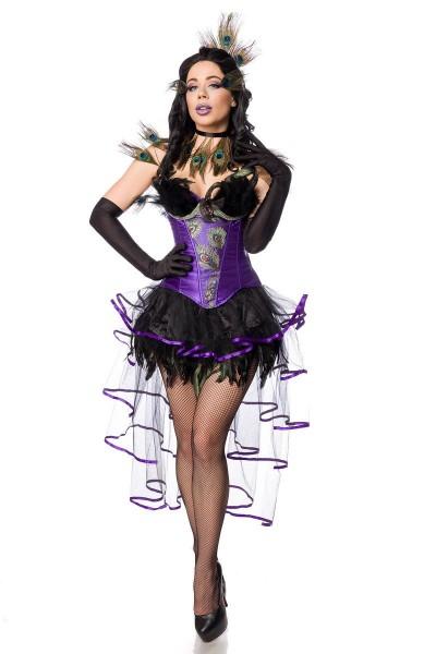 Pfauen-Mädchen Kostüm - vorne