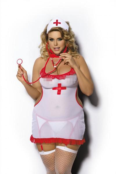 Krankenschwester-Outfit in Queensize aus Tüllmaterial