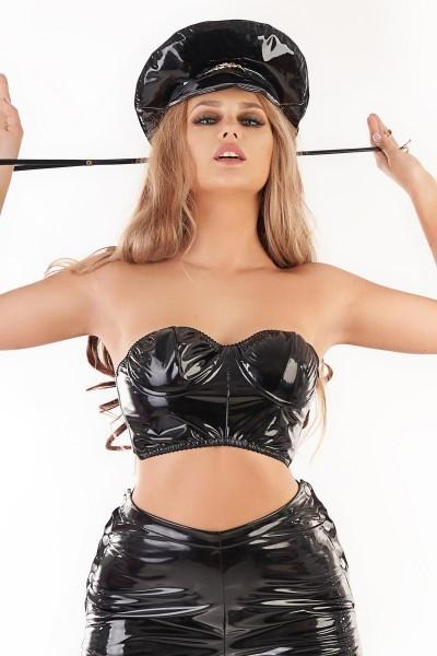 schwarzes Lack-Top mit Bügelcups und verstärkten Seiten durch Stäbchen