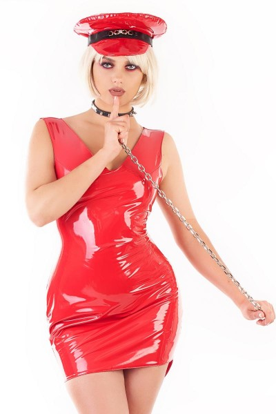 rotes, glänzendes Lack-Minikleid mit tiefem Rückenausschnitt