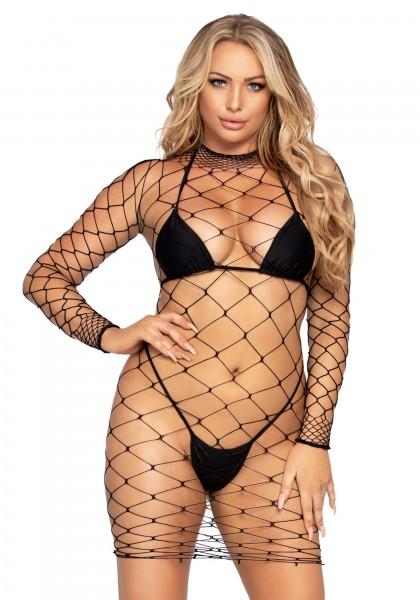 Netz-Minikleid aus grobmaschigem Netz