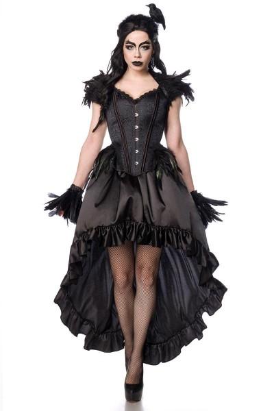 Gothic Raben-Mädchen Kostüm - vorne